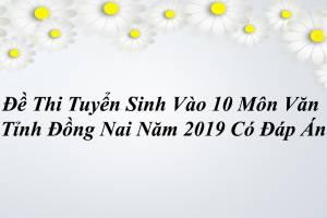 Đề Thi Vào 10 Môn Văn Tỉnh Đồng Nai Năm 2019 Có Kèm Đáp Án