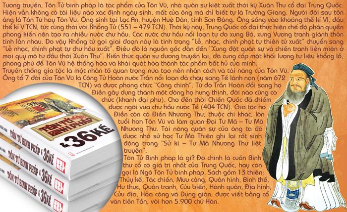 ... Binh thế, Hư thực, Quân tranh, Cửu biến, Hành quân, Địa hình, Cửu địa,  Hỏa công và Dụng gián, được viết bằng cổ văn thiên Tần, với hơn 5.900 chữ  Hán.