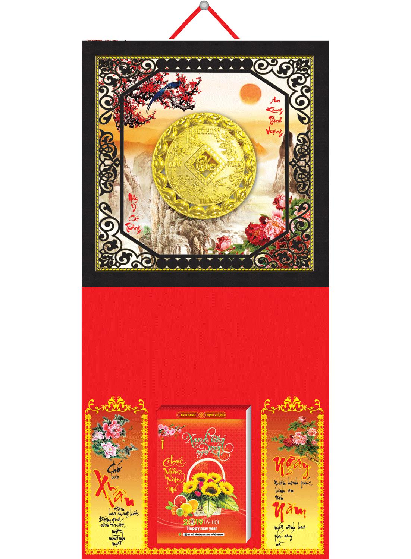 Bìa Treo Lịch 2019 Da Simili Dán Nổi (35 x 70 cm) - Mẫu Khung Đen - Dán Nổi Đồng Tiền Vàng - KV 93