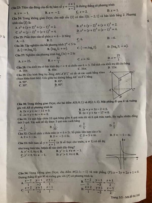 Đề thi tốt nghiệp thpt môn toán mã đề 102