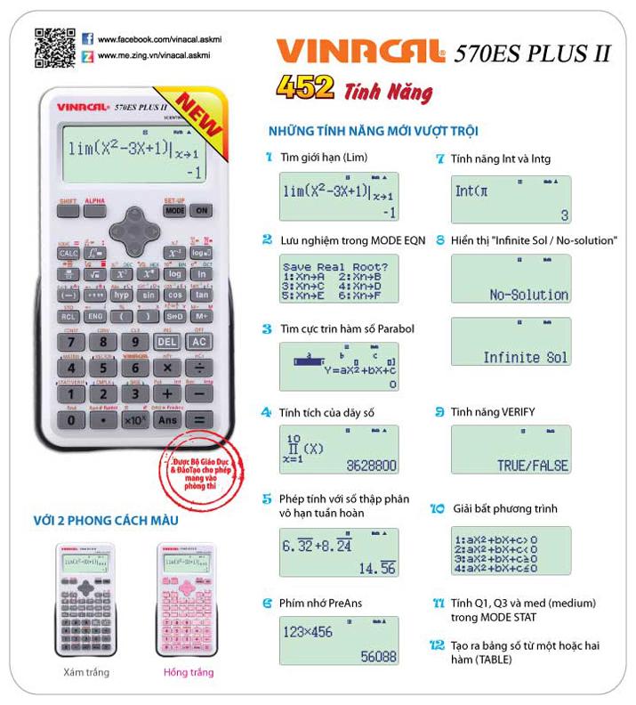 Tính năng máy tính Vinacal 750ES Plus II (Hồng Trắng)