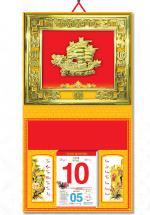 Bìa Treo Lịch 2019 Metalize Ép Kim Cao Cấp 7 Màu (40 x 80 cm) - Mẫu Khung Vàng - Dán Nổi Hình Thuyền Rồng - KV202