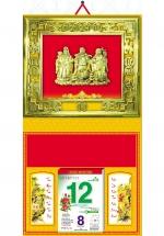Bìa Treo Lịch 2019 Metalize Ép Kim Cao Cấp 7 Màu (40 x 80 cm) - Mẫu Khung Vàng - Dán Nổi Hình Phúc Lộc Thọ - KV200