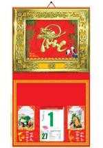 Bìa Treo Lịch 2019 Metalize Ép Kim Cao Cấp 7 Màu (40 x 80 cm) - Mẫu Khung Vàng - Dán Nổi Chữ Phúc Đầu Rồng - KV148