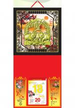 Bìa Treo Lịch 2019 Metalize Ép Kim Cao Cấp 7 Màu (35 x 70 cm) - Mẫu Khung Đen - Dán Nổi Họa Tiết Heo Phúc - KV 87