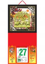 Bìa Treo Lịch 2019 Metalize Ép Kim Cao Cấp 7 Màu (35 x 70 cm) - Mẫu Khung Đen - Dán Nổi Họa Tiết Heo Lộc - KV 89