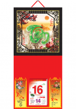 Bìa Treo Lịch 2019 Metalize Ép Kim Cao Cấp 7 Màu (35 x 70 cm) - Mẫu Khung Đen - Dán Nổi Chữ Tâm Cẩm Thạch - KV 71