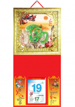 Bìa Treo Lịch 2019 Metalize Ép Kim Cao Cấp 7 Màu (35 x 70 cm) - Mẫu Khung Vàng - Dán Nổi Chữ Tâm Cẩm Thạch - KV 72