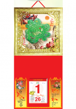 Bìa Treo Lịch 2019 Metalize Ép Kim Cao Cấp 7 Màu ( 35 x 70 ) - Mẫu Khung Vàng - Dán Nổi Chữ Phước Cẩm Thạch - KV 74