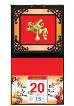 Bìa Treo Lịch 2019 Metalize Ép Kim Cao Cấp 7 Màu (32,5 x 65 cm) - Dán Nổi Chữ Thọ Đầu Rồng - KV66