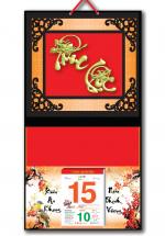 Bìa Treo Lịch 2019 Metalize Ép Kim Cao Cấp 7 Màu (32,5 x 65 cm) - Dán Nổi Chữ Phúc Lộc Đầu Rồng - KV63