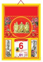 Bìa Treo Lịch 2019 Đỏ Dán Chữ Nổi ( 40x60 cm ) - Dán Nổi Hình Phúc Lộc Thọ - KV465