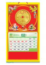 Bìa Treo Lịch 2019 Lò Xo Giữa Bế Nổi (37 x 68 cm) - Dán Nổi Hình Đồng Tiền Vàng - KV372