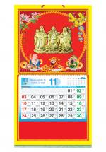Bìa Treo Lịch 2019 Lò Xo Giữa Bế Nổi (37 x 68 cm) - Dán Nổi Hình Phúc Lộc Thọ - KV370