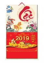 Bìa Treo Lịch 2019 Lò Xo Giữa Bế Nổi ( 37 x 68cm ) - Bìa Chữ Lộc - KV339
