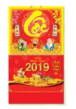Bìa Treo Lịch 2019 Lò Xo Giữa Bế Nổi ( 37 x 68cm ) - Bìa Chữ Lộc - KV333
