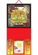 Bìa Treo Lịch 2019 Metalize Ép Kim Cao Cấp 7 Màu ( 35 x 70 cm ) - Mẫu Khung Giả Gỗ - Dán Nổi Họa Tiết Heo Phúc - KV123