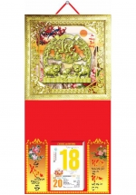 Bìa Treo Lịch 2019 Metalize Ép Kim Cao Cấp 7 Màu ( 35 x 70 cm ) - Mẫu Khung Vàng - Dán Nổi Họa Tiết Heo Lộc - KV126