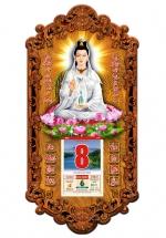 Lịch Gỗ 2020 Phật Quan Âm Trắng 3DP9-QAT ( 39x79x1CM )