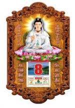 Lịch Gỗ 2020 - Phật Quan Âm Trắng (39x79CM) - 3DP9 - QAT