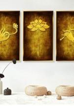 Tranh Treo Tường Sen Vàng Thoát Tục (3 Tấm 37x25x3 cm)