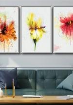 Tranh Treo Tường Sắc Màu Hoa Nghệ Thuật (3 Tấm 37x25x3 cm)