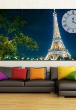 Tranh Đồng Hồ Paris Về Đêm (40x25x3cm)