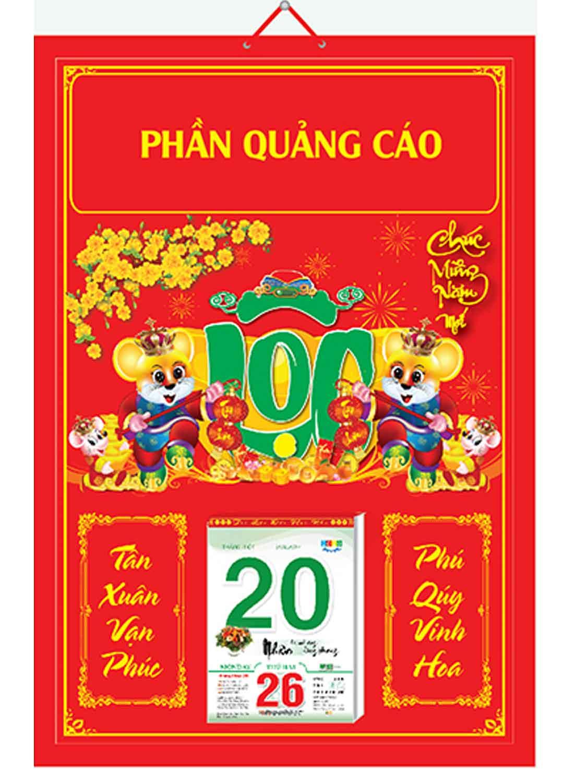 Bìa Treo Lịch Chiết Quang Điển Hình (40x60cm) Gắn Bloc Lịch 2020 - NS200