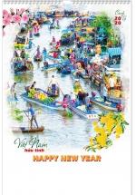 Lịch Nẹp Thiếc 7 Tờ 2020 40x60 Cm - Việt Nam Hữu Tình - HT32