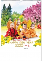 Lịch Nẹp Thiếc 7 Tờ 2020 40x60 Cm - Chú Tiểu Khôi Ngô - HT68