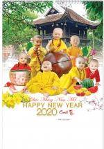 Lịch Nẹp Thiếc 7 Tờ 2020 40x60 Cm - Chú Tiểu Hồn Nhiên - HT66