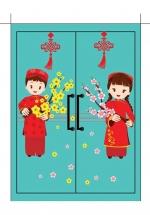 Decal Bé Và Hoa Chúc Tết