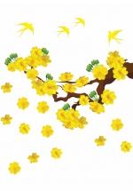 Decal Mai Vàng Và Chim Én Đón Xuân 5