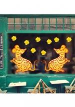 Decal Trang Trí Tết Chuột Vàng Và Hoa Mai Vàng