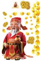 Decal Ông Thần Tài Tặng Túi Vàng