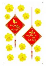 Decal Mai Vàng Nở Rộ Mừng Năm Mới - Đào Hồng Khoe Sắc Đón Xuân Sang