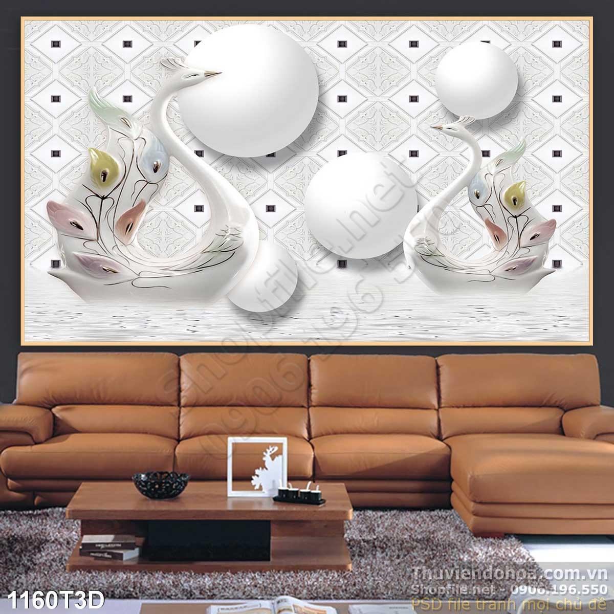 Tranh 3D Thiên Nga Trang Trí - NS1160
