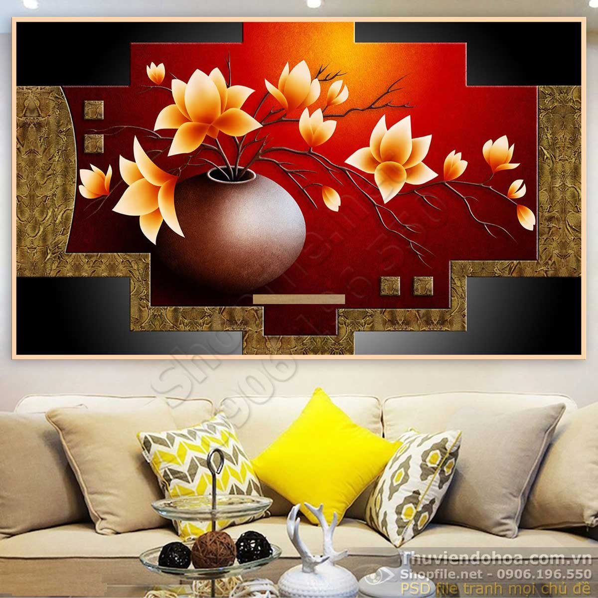 Tranh 3D Bình Hoa Trang Trí Tường - NS1140