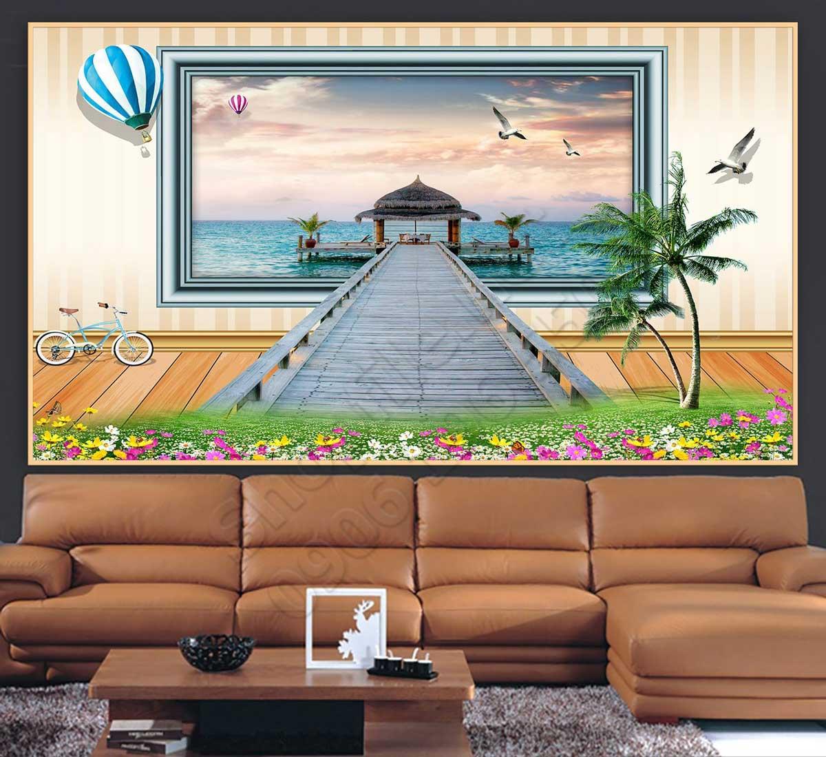 Tranh 3D Cửa Sổ Trang Trí Phòng Khách - NS1074