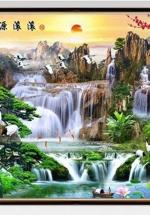 Tranh Hoa Đào Và Sơn Thủy - TP2583