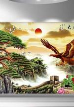 Tranh Thư Pháp Thác Nước Và Chim Đại Bàng - NS1103