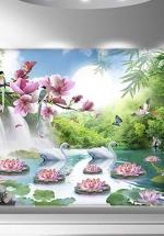 Tranh Thư Pháp Thác Nước Hoa Sen Treo Tường - NS372