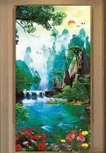 Tranh In 3D Cây Cầu Và Thác Nước Phong Thủy Đẹp Nhất - NS2564