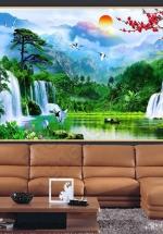 Tranh Hoa Đào Và Thác Nước Phong Thủy - NS2593