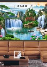Tranh Thác Nước Phong Thủy Và Chim Hạc - NS2579