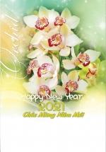 Lịch Lò Xo 7 Tờ 2021 40x60 Cm - Hoa Lan - HT89