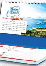 Lịch Để Bàn Chữ A 2021 (25x12 Cm) Có Note - Biển Đảo - NS30
