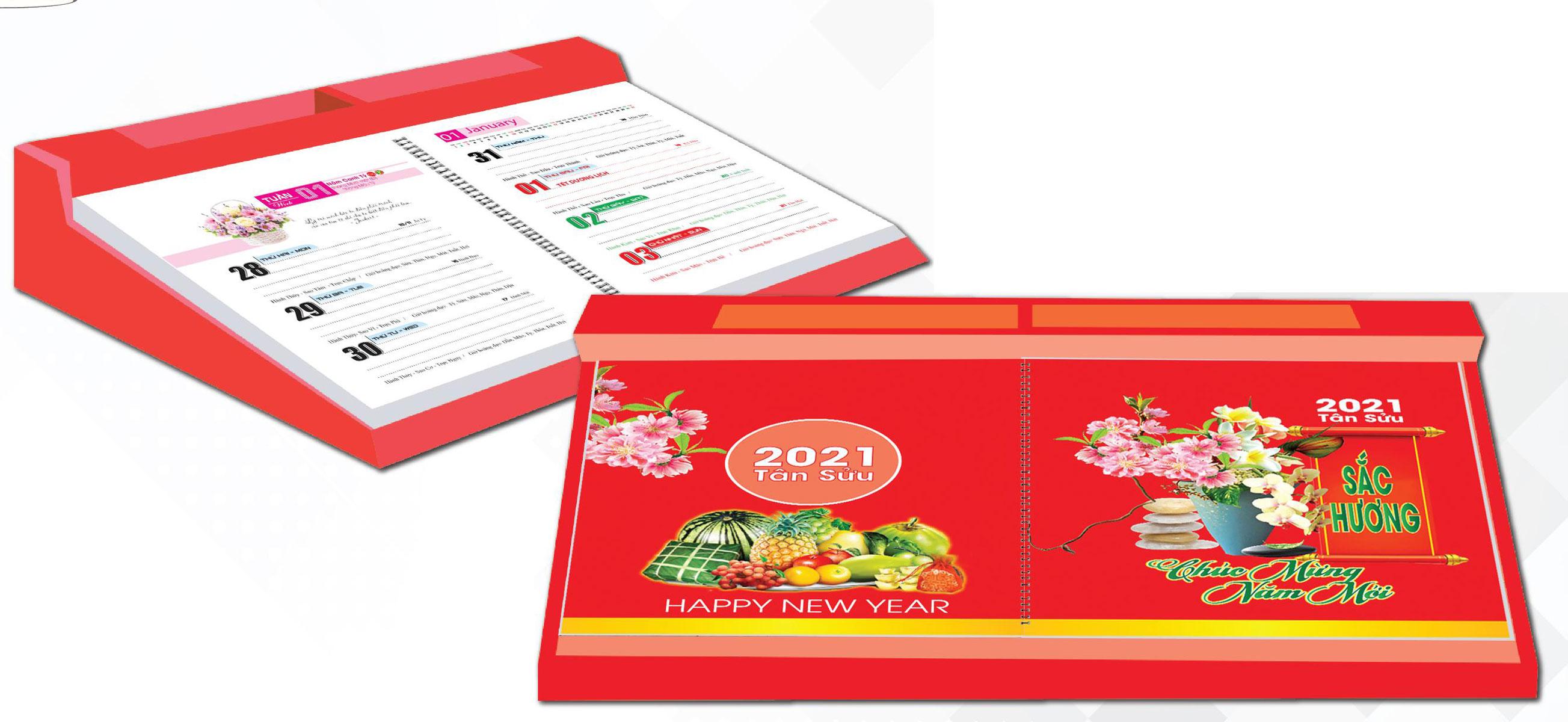 Lịch Để Bàn 2021 53 Tuần Đế Nhựa (14x27 cm) - Sắc Hương - NS28