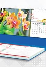 Lịch Để Bàn Chữ A 2021 (25x12 Cm) Có Note - Hoa Lan - NS33
