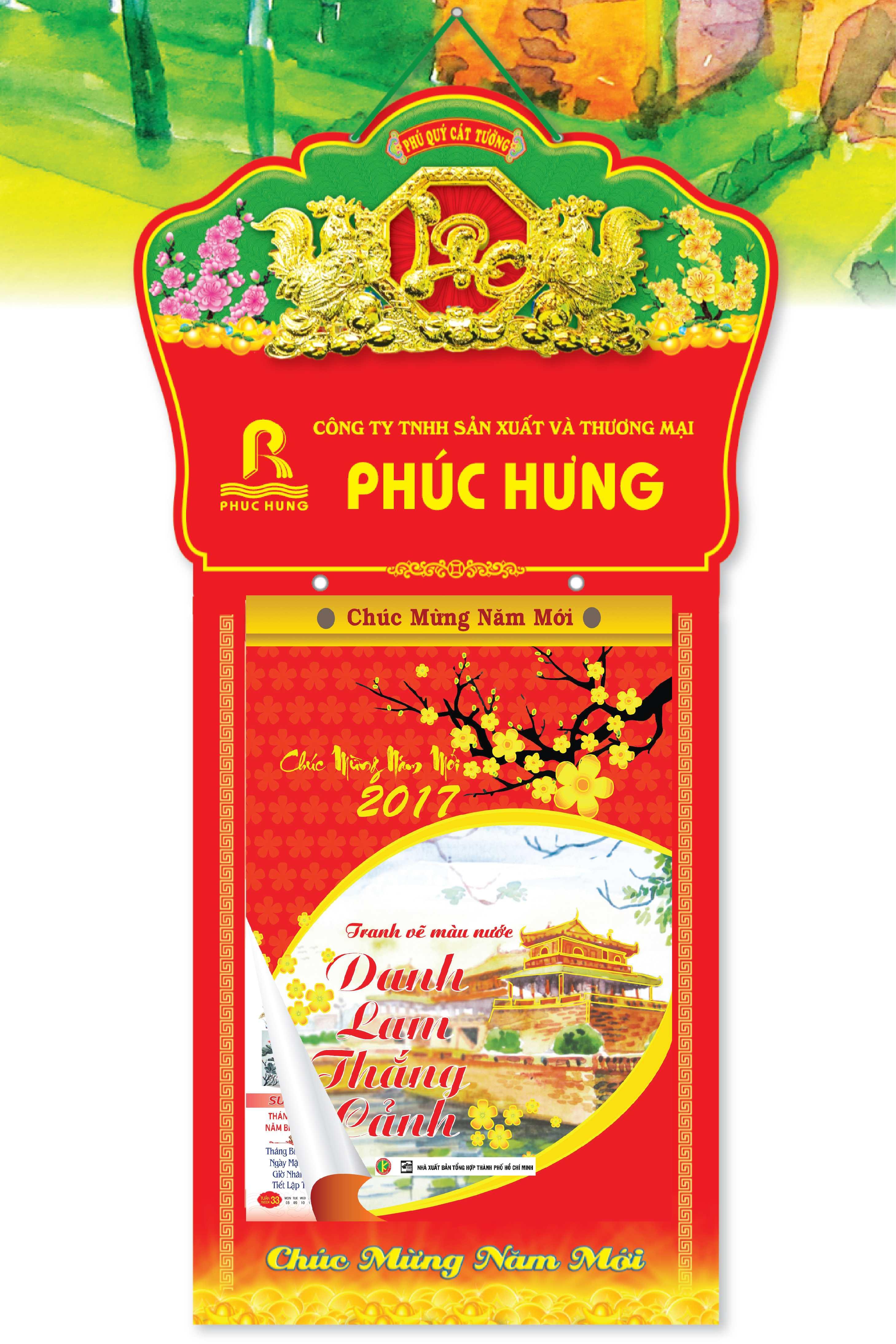 Lịch Bloc Siêu Đại 2017 - Danh Lam Thắng Cảnh Tranh Màu Nước ( Bloc 25 x 35cm)